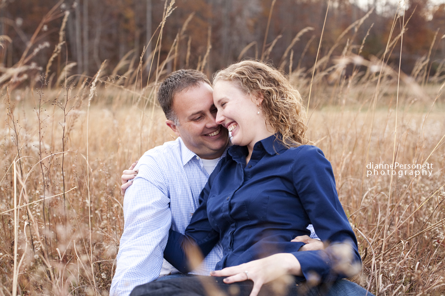 winston-salem engagement photos in a field