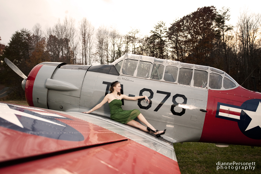 nc vintage engagement session with vintage planes
