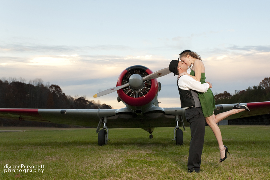 vintage engagement session with vintage planes