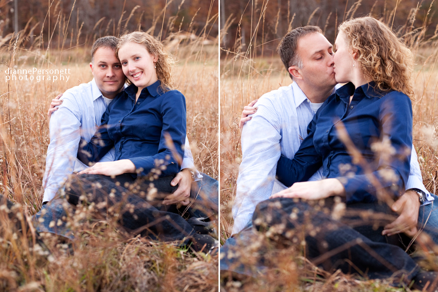 charlotte engagement photos in a field