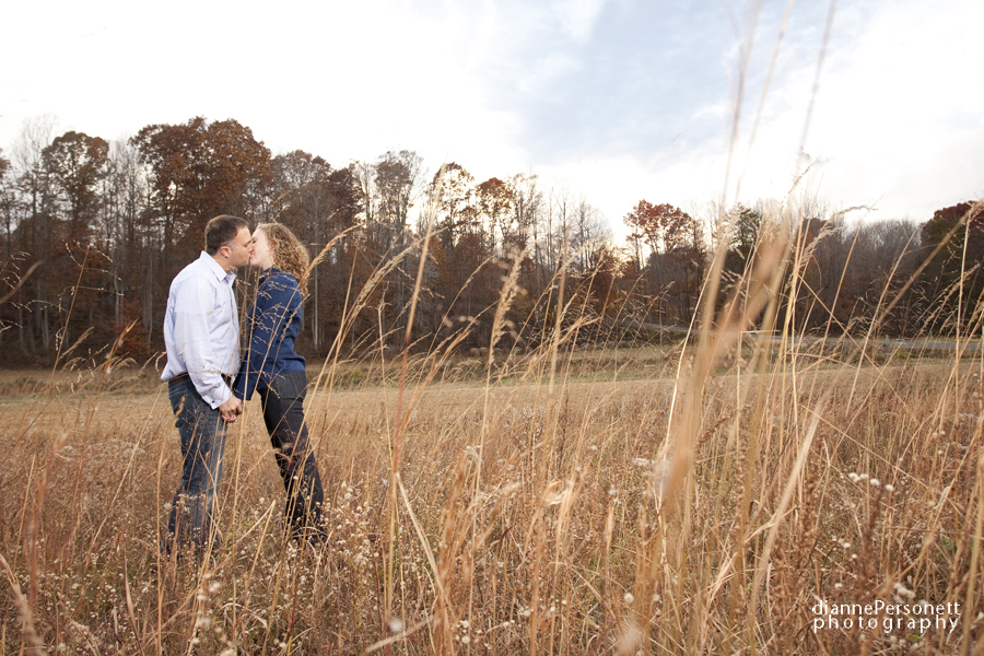 winston-salem engagement session in a field