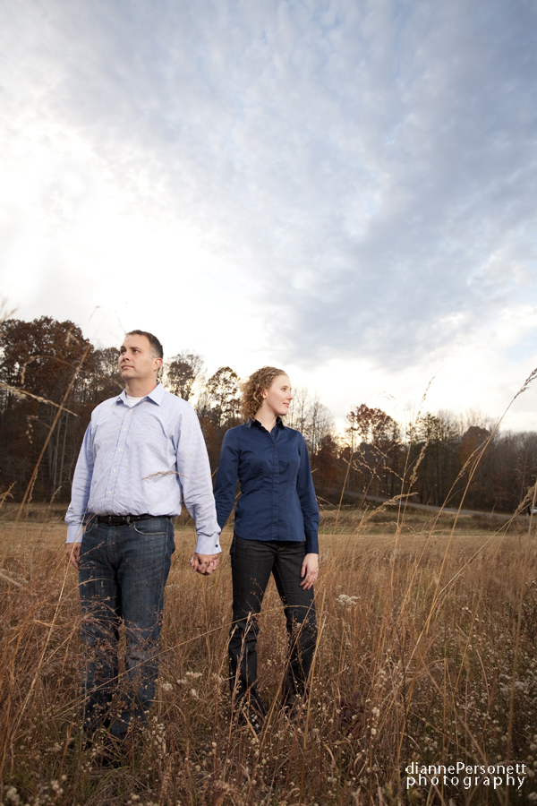 charlotte engagement session in a field