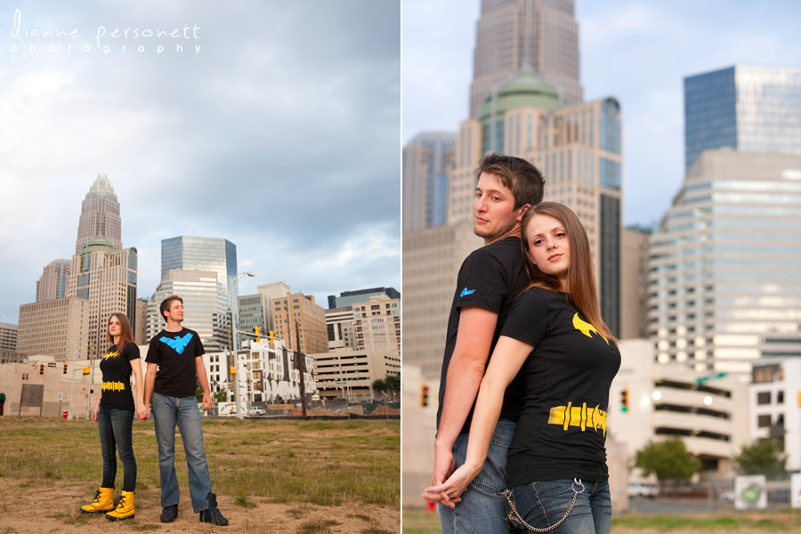 City engagement photos in Charlotte