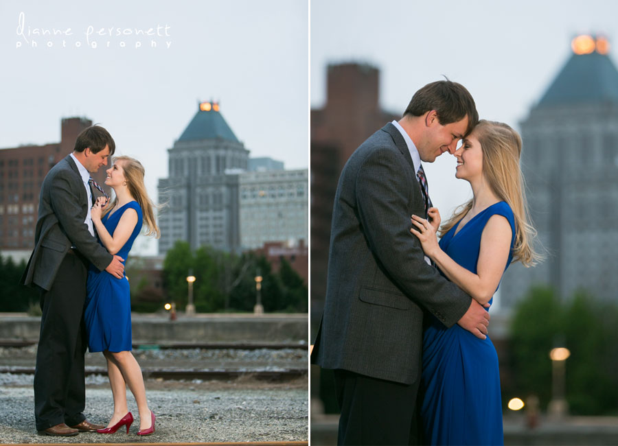 downtown greensboro nc engagement photos with trains
