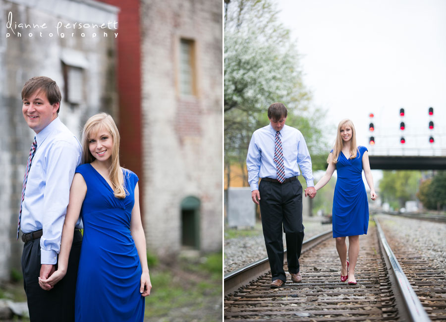 downtown Greensboro NC train tracks engagement session