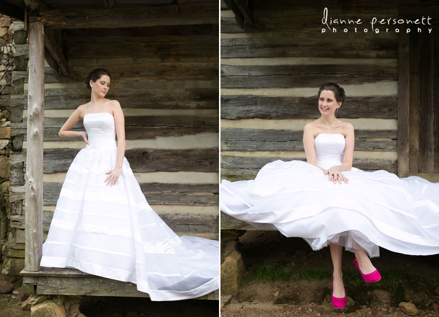 bridal session at the dairy barn