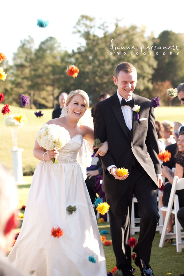wedding photos at carmel country club charlotte nc, pom pom toss wedding recessional