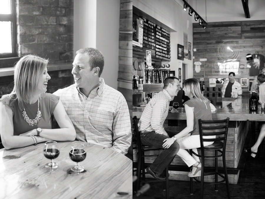 engagement photos at triple C brewery charlotte